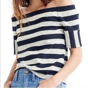 Madewell Striped Off The Shoulder Short Sleeve Top